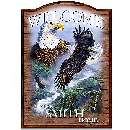 Bald Eagle Personalized Welcome Sign: Soaring Guardians by The Bradford Exchange Online - Lovely Exchange