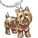 Dog Lovers Diamond Pendant Necklace - Playful Pup