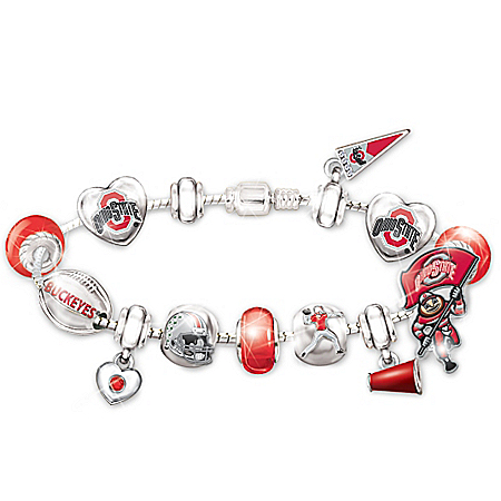 The Ohio State Buckeyes #1 Fan Charm Bracelet: Go Buckeyes! by The Bradford Exchange Online - Lovely Exchange