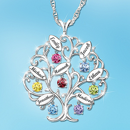 Personalized Birthstone Family Tree Pendant Necklace: Family of Love – Personalized Jewelry
