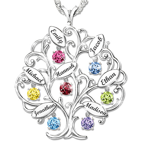 Personalized Birthstone Family Tree Pendant Necklace: Family of Love