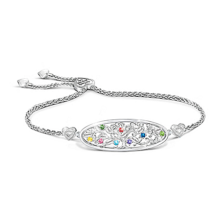 Our Loving Family Tree Women's Personalized Sterling-Silver Plated Bolo Bracelet Featuring Up to 8 Crystal Birthstones & Engrave