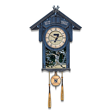 click for Full Info on this Cuckoo Clock: Mickey Mantle Yankees Cuckoo Clock