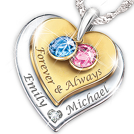 Photo of Women's Necklace: Forever & Always Personalized Diamond Pendant Necklace by The Bradford Exchange Online