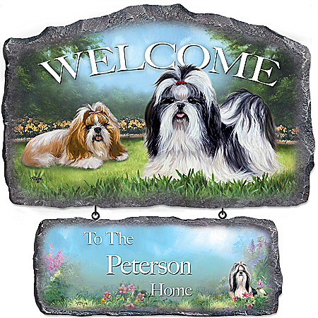 Lovable Shih Tzus Personalized Welcome Sign Wall Decor