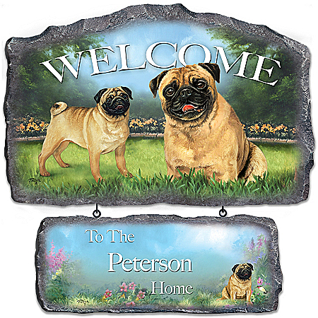 Lovable Pugs Personalized Welcome Sign Wall Decor