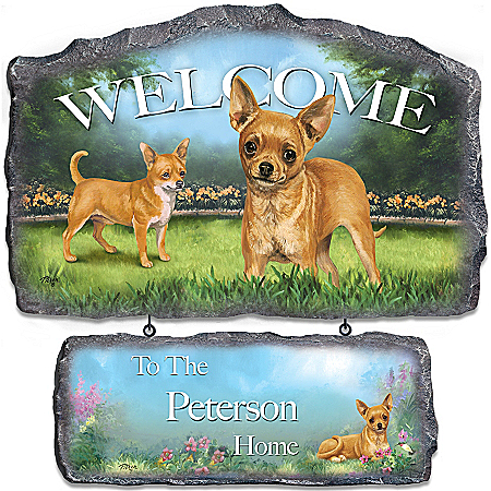 Lovable Chihuahuas Personalized Welcome Sign Wall Decor by The Bradford Exchange Online - Lovely Exchange