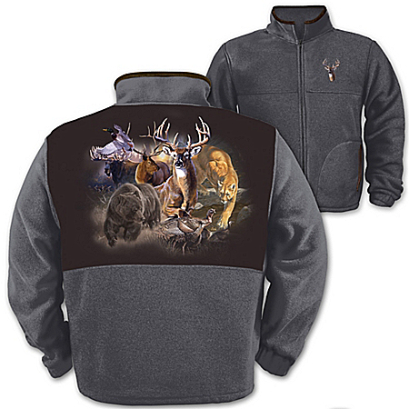 Wildlife Men's Fleece Jacket: Northwoods Big Game
