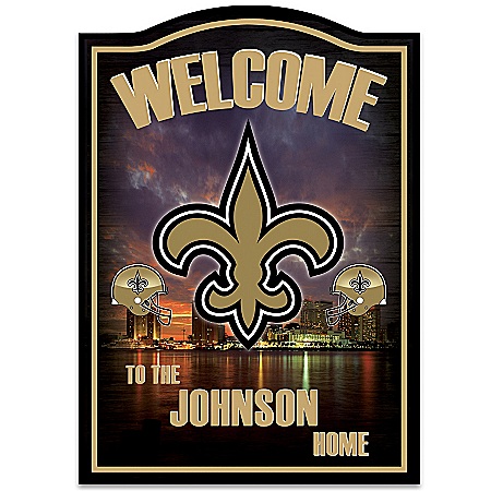 NFL New Orleans Saints Personalized Welcome Sign by The Bradford Exchange Online - Lovely Exchange