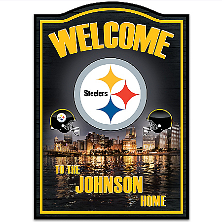NFL Pittsburgh Steelers Personalized Welcome Sign Wall Decor by The Bradford Exchange Online - Lovely Exchange