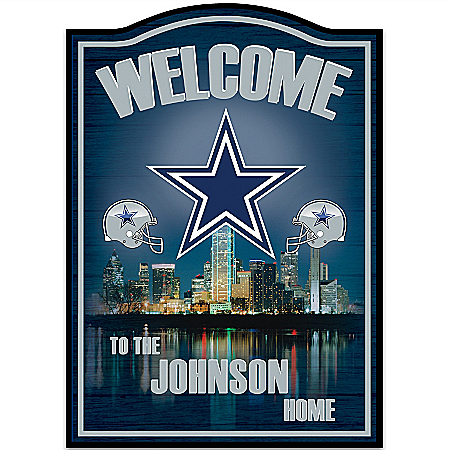 NFL Dallas Cowboys Personalized Welcome Sign Wall Decor by The Bradford Exchange Online - Lovely Exchange