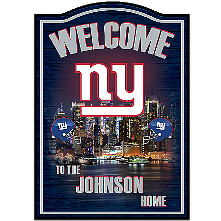 NFL New York Giants Personalized Welcome Sign Wall Decor by The Bradford Exchange Online - Lovely Exchange