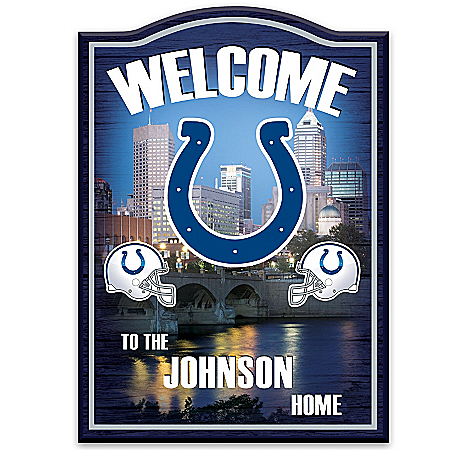 Indianapolis Colts Personalized Welcome Sign by The Bradford Exchange Online - Lovely Exchange