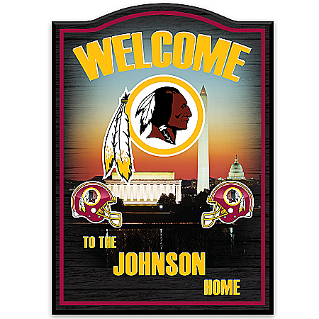 Wall Decor: Washington Redskins Personalized Welcome Sign Wall Decor