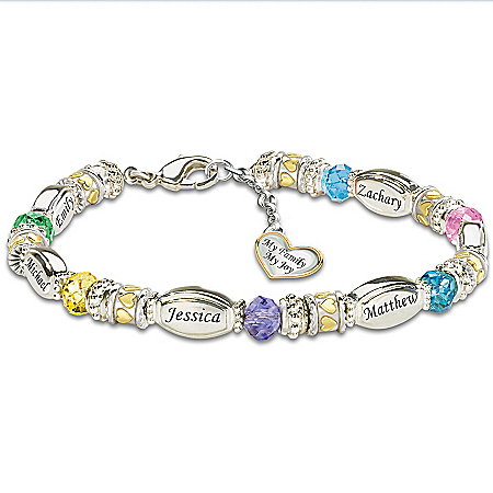 Personalized Birthstone Bracelet: My Family, My Joy by The Bradford Exchange Online - Lovely Exchange
