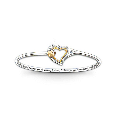 Engraved Bangle Bracelet: Heart Of Teaching by The Bradford Exchange Online - Lovely Exchange