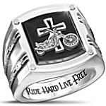 Ring - Biker's Blessing Stainless Steel Black Onyx Men's Ring