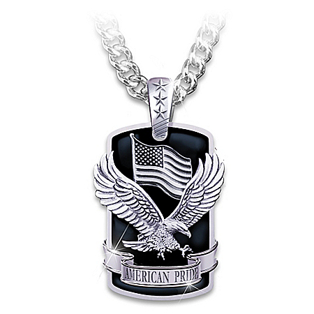 Photo of Dog Tag Pendant Necklace: American Pride by The Bradford Exchange Online