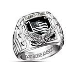 American Pride God Bless America Men's Stainless Steel Ring