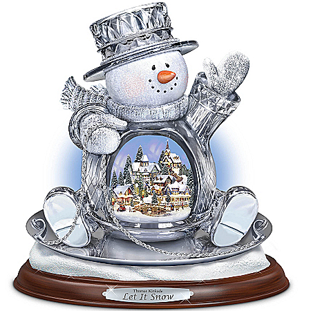 Thomas Kinkade Crystal Snowman Sculpture: Let It Snow
