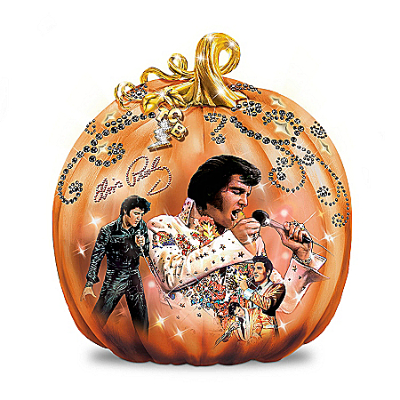 Elvis Takin' Care Of Halloween Pumpkin Sculpture