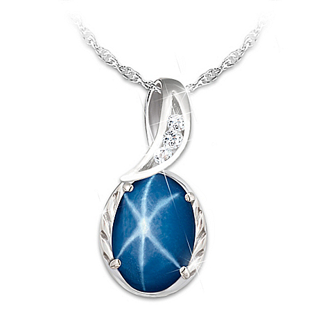 Sky Gazer Created Star Sapphire Pendant Necklace by The Bradford Exchange Online - Lovely Exchange