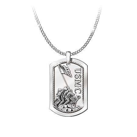 Men's Pendant And Necklace: Semper Fi Pendant Necklace
