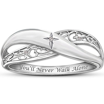 christian engraved diamond engagement wedding ring - Christian Wedding Rings