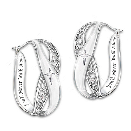 Pure Faith Solid Sterling Silver and Diamond Earrings