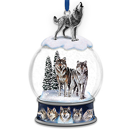 Al Agnew Untamed Spirits Snowglobe Christmas Ornament With Wolf Art
