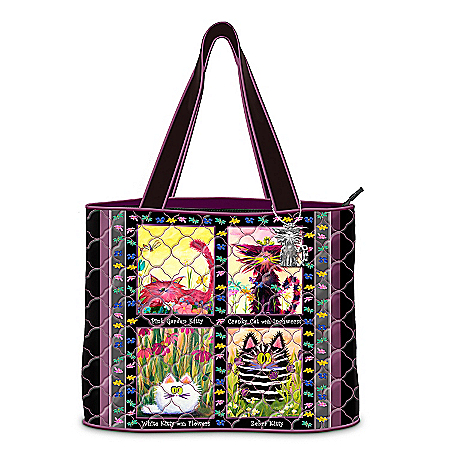 Photo of Cranky Cats Quilted Tote Bag by The Bradford Exchange Online