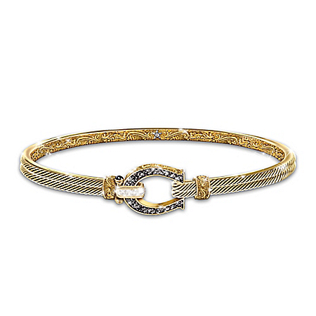 Black Beauty Sapphire And Topaz Horseshoe Women's Bracelet