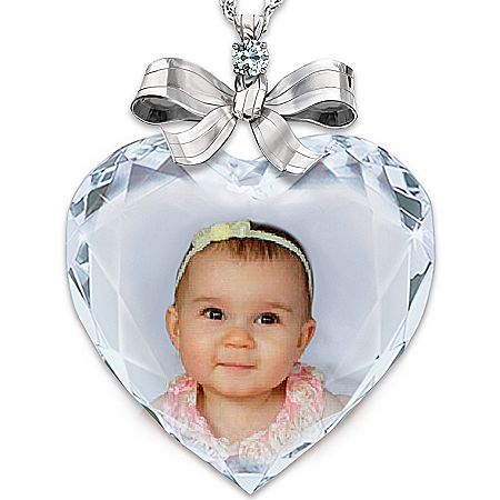 Photo of Personalized Photo Precious Jewel Diamond Pendant Necklace by The Bradford Exchange Online