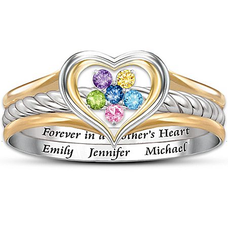 Personalized Stacking Ring: A Mother's Loving Heart
