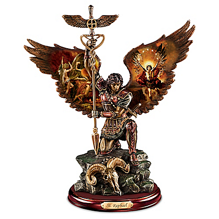 Photo of Howard David Johnson St. Raphael: Merciful Healer Cold-Cast Bronze Sculpture by The Bradford Exchange Online