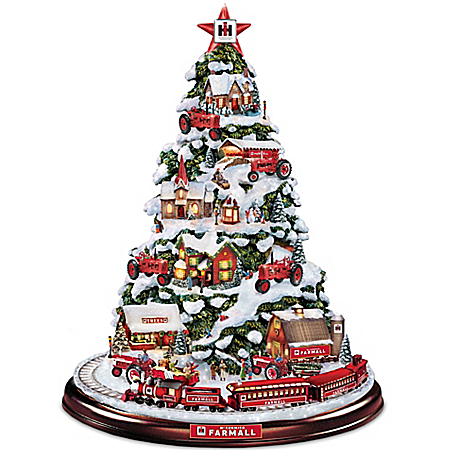 Farmall Heart Of The Holidays Illuminated Tabletop Tree With Lights And Moving Train by The Bradford Exchange Online - Lovely Exchange