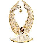 Thomas Kinkade Illuminated African American Nativity Angel Sculpture - Away In A Manger