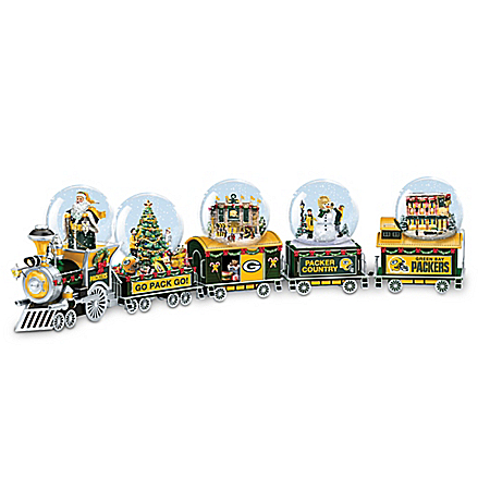 NFL-Licensed Green Bay Packers Santa Leads The Way Snowglobe Train Car