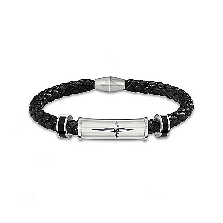 Bracelet: Protection And Strength For My Son Leather And Steel Cross Men's Bracelet – Graduation Gift Ideas