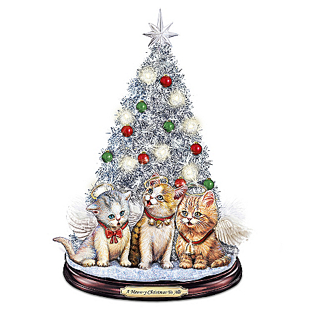 A Meow-y Christmas To All Tabletop Christmas Tree With Singing Jingle Cats