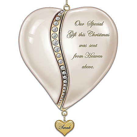 Personalized Baby's First Christmas Ornament: From The Heart by The Bradford Exchange Online - Lovely Exchange