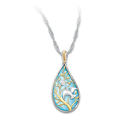 Women's Necklace: Wings Of Peace Diamond Pendant Necklace