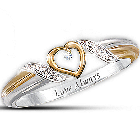 Women's Heart Of Love Personalized Diamond Ring
