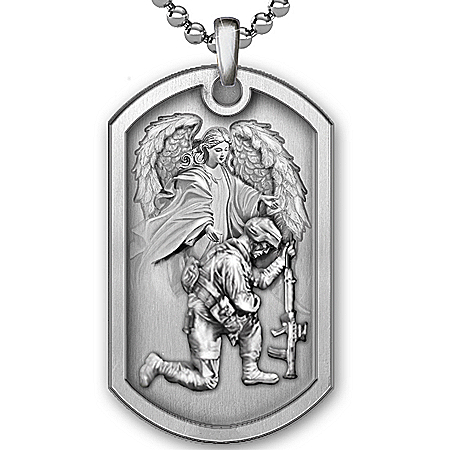 Personalized Men's Dog Tag Pendant Necklace: Bless This Soldier