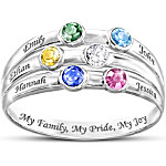 Personalized Birthstone Ring My Family, My Pride, My Joy