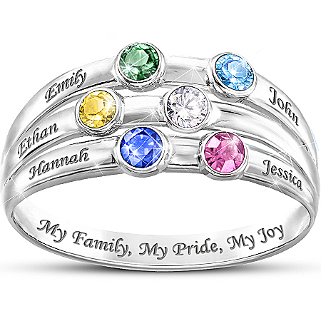 Personalized Birthstone Ring: My Family, My Pride, My Joy by The Bradford Exchange Online - Lovely Exchange