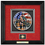 Personalized Shadowbox Firefighter Plate: Commitment To Courage