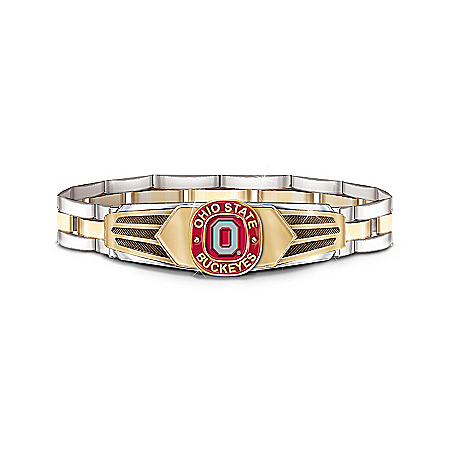 Ohio State Buckeyes Stainless Steel Men's Bracelet by The Bradford Exchange Online - Lovely Exchange