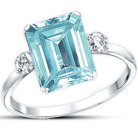 Diamonesk Ring: Aqua Allure
