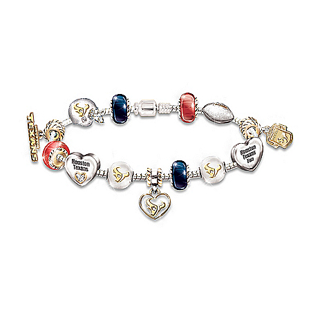 NFL Houston Texans Charm Bracelet: Go Texans #1 Fan